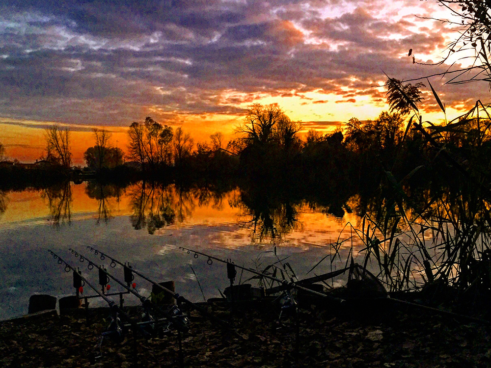 A sunset with unbelievable colors on the carp lake