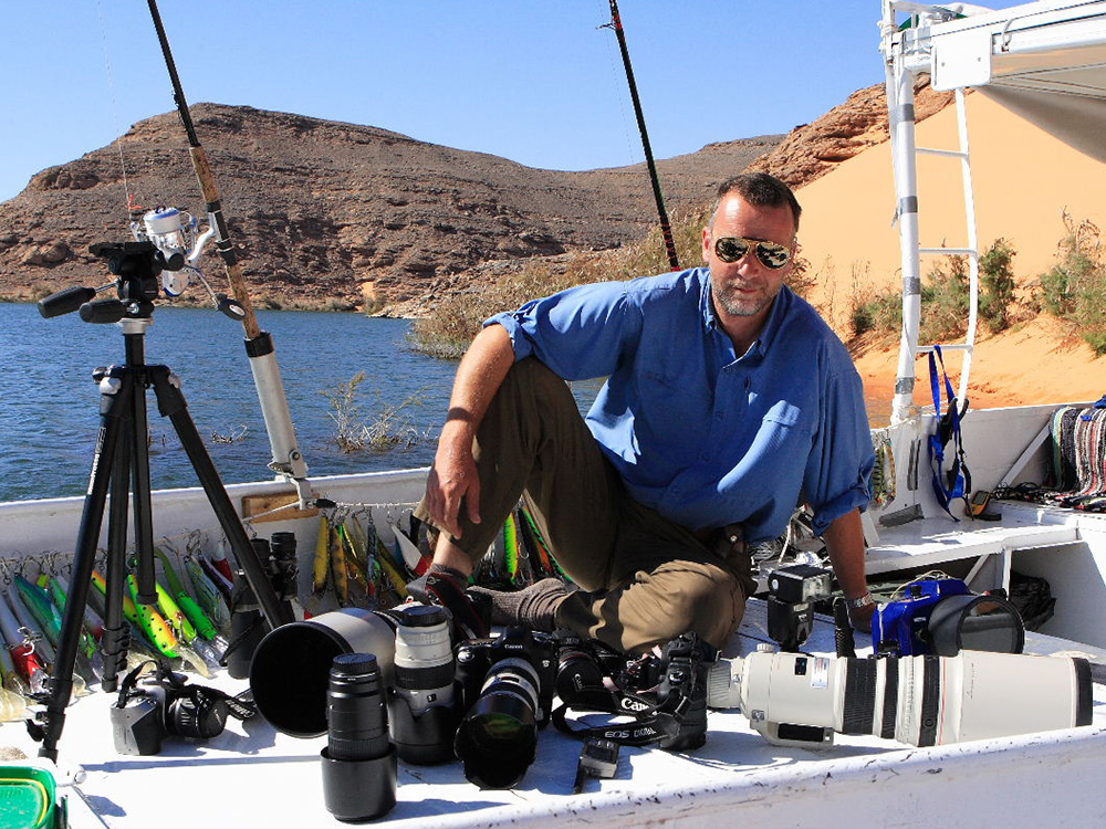 Journalist and angler Olivier Portrat with all tackle